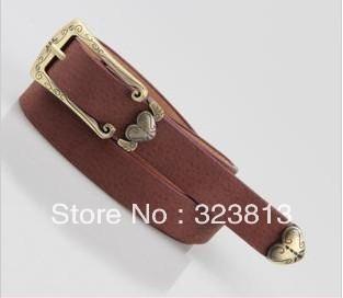 Min Order $15(mixed order)  Fashion  Peach heart vintage thin belt female style genuine leather women belt decoration belt