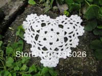 wholesale 100% cotton hand made valentine day gift Heart Shaped Crochet Doily ,cup mat 10 cm 20PCS/LOT crochet applique