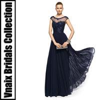 2013 B0142 Cap Sleeves Scoop Chiffon Navy Blue Evening Dress