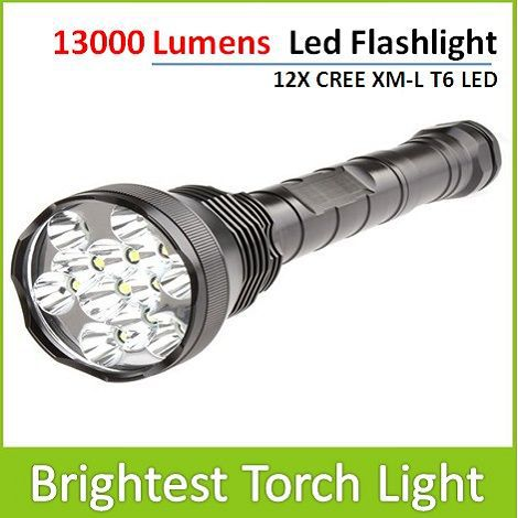 13000 lumens 12X CREE XM-L T6 LED Flashlight Super Brightest Defense Tactical Torch Light For Hunting Hiking Work Free Shipping(China (Mainland))