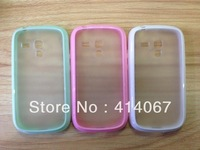 100psc/lot TPU + PC Bumper Frosted Matte Clear Transparent Back Cover Case For Samsung III Mini i8190