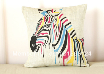 free shipping Animal Print Colorful Zebra pattern Linen cushion cover shell Home decorative throw pillow case,45cm/17""