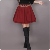 Y612  free shipping  Women's A-Line Red color lace patchwork  wool A line short skirt