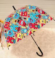 Cartoon Doodle Paragraph Robot Transparent Princess Royal Umbrella Fashion Umbrellas Long Handle Umbrella
