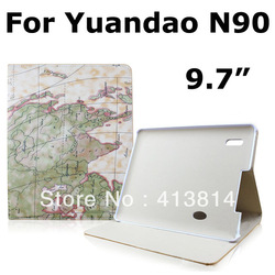 Protective Stand Leather Case Cover For Window YuanDao N90 Daul-Core 9.7 inch Tablet PC Free shipping(China (Mainland))