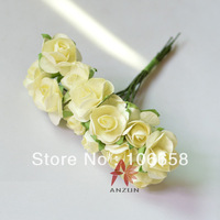 Free Shipping 144pcs/lot Artificial Paper Flower DIY Card and Gift Box Rose Flower Bouquet Ivory