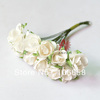 Free Shipping 144pcs/lot Artificial Paper Flower DIY Card and Gift Box Rose Flower Bouquet White