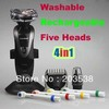 2013 Gift for Father's Day  4 In 1 Washable Rechargeable Shaver With Five/5 Heads Blades Hair Clipper Trimmer Toothbrush