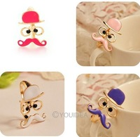 Wholesale - 7pcs 2013 Jewelry New Fashion Retro Style Enamel Beard Man Double refers to rings