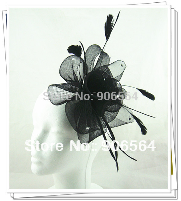 Loss money sale and free shipping 6 color feather fascinator hats ,nice rhinestone decoration feather hair accessories MSF185(China (Mainland))