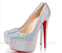 Free shipping 11cm/14cm/16cm wedding shoes crystal shoes women high heels rhinestone high heel shoes platform pumps