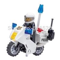 Original Box Kazi Police Motorcycle Building Block Sets Model Educational Bricks Toys For Children