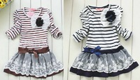 Wholesale - Children's Dress- girls striped princess long sleeve dress -5 Pieces/1lot