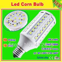 15w Bombilla 86 LED SMD 5050 10 pcs/lot_free shipping ac 110v /220v 15 watt 360 degree led corn light bulb free shipping