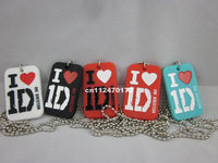 I love 1D necklace, One Direction Dog Tag with ball chain, blue,red,wbSiliocn dog tag, fashion dog tag, 50pcs/lot, free shipping