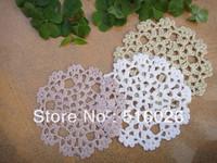 wholesale hand made Crochet  Doily 100% cotton cup mat,cup pad,coaster ,round lace place mat 12CMX12CM 20PCS/LOT