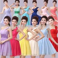 Elegant Brief Dress One Shoulder Cheap Coral turquoise  Bridesmaids Dresses short Wedding Party  Simple Dress For Bridesmaids