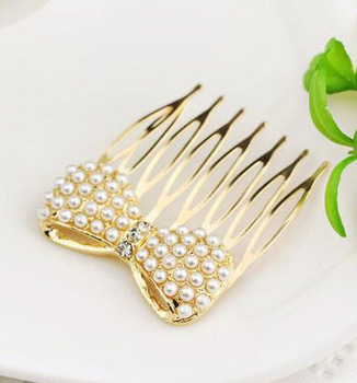 Fashion Full Pearl Bow Hair Accessories Gold Plated Rhinestone Hairpin Hair Comb Korean Jewelry SF013