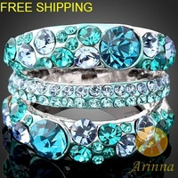 Free shipping Arinna 18K WGP silver Rhinestone crystal Ring Round with clear Crystal for women J1055
