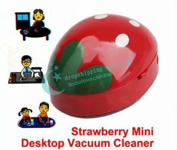 Cute Red Strawberry Mini Desktop Vacuum Cleaner Desk Dust Desktop Cleaner Vacuum Free Shipping(China (Mainland))