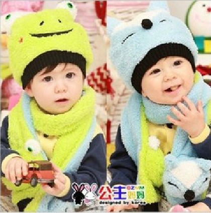 Free Shipping Smiling Fox And Frog Children&#39;s Hats And Scraves Baby Knitted Hat And Scarf Two-Piece Set(China (Mainland))