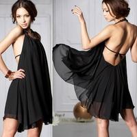 Hot Casual Holiday   New Korean Women's Summer  Sexy Halter Neckline Jewels Chiffon Round Collar Dress