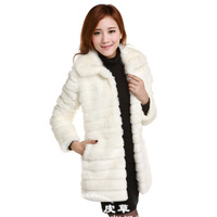 2013 women's faux winter rabbit fur coat femalemedium-long overcoat warm outerwear top new fashion clothing