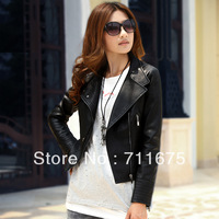 1pcs Autumn new arrival female leather clothing female short design slim PU women's leather clothing motorcycle outerwear 0836
