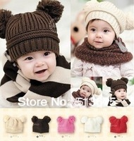 Free Shipping Baby Double ball MICKEY knitted baby pocket hat children boy girl child Hat wool hat winter warm ear protectors