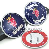50pcs Lots SAAB 68mm Bonnet Boot Badges Emblem wtih 3 Pins
