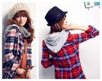 spring autumn new fashion cotton long sleeve plaid plus size casual hoodie blusas femininas 2014 shirt women blouse