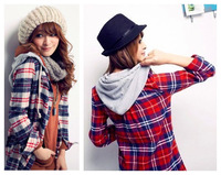 spring autumn new fashion cotton long sleeve plaid plus size casual hoodie blusas femininas 2014 shirt women blouse