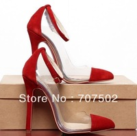 Sexy cut-outs red sole shoes buckle pointed dress shoes see through night club pums for lady