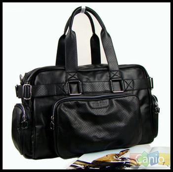 2014  men's  shoulder satchel  bag  high quality PU leather  travel bag  big black cross body bag for men