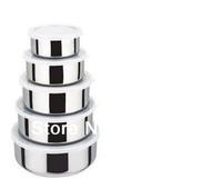Wholesale-( 60 SETS/LOT) 5 pcs Stainless steel Food container set  food storage 5 sizes( 10cm,12cm,14cm,16cm and 18cm)