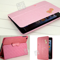 Newest Free Shipping Hot Hello Kitty Luxury Smart For iPad Mini Leather Case Cover With Stand