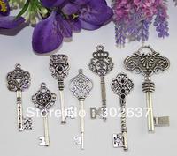 FREE SHIPPING 14PCS Mixed Lots of Big Tibetan Silver Key Charm Pendants #22466