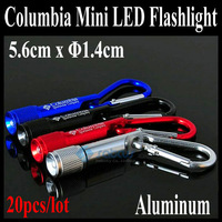 Free shipping ! Colombian Strong Light Mini Aluminum LED Flashlight  with Key Chain ,Easy Carry for Hiking and Camping