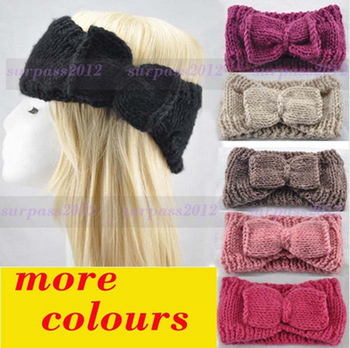 HOT Women Bow Crochet Headband Knit loop Headwrap Winter Ear Warmer Free Shipping