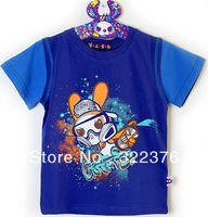 Children's summer wear T-shirt single cartoon graffiti tide flat lock boy child in T-shirt