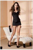 Women shaper  (bustier+g-string) black Sexy Lingerie corset  satin 0887