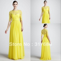 ZED-128 Free shipping designer lace floral neck pleated half sleeves long yellow evening party dresses for women 2013