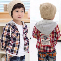 2012 Autumn Spring boy Casual Shirt coat overcoat with hat grid design for 3~9Y free shipping wholesale drop shipping