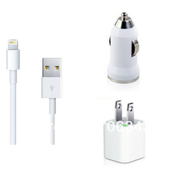 3 in 1 set US travel charger + car charger + USB sync cable for iPhone 5 Wholesale 15 pcs/lot free shipping(Hong Kong)