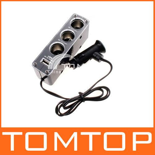 Triple 1 to 3 Socket + USB Power Supply Car Cigarette Lighter Socket Splitter Plug Charger 12V Adapter(China (Mainland))