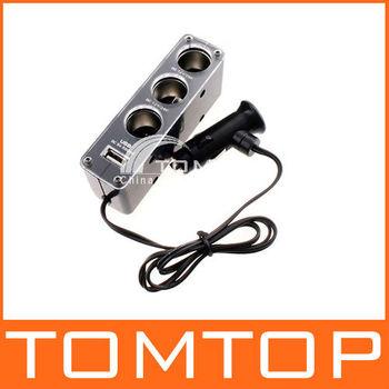 Triple 1 to 3 Socket + USB Power Supply Car Cigarette Lighter  Socket Splitter Plug Charger 12V Adapter