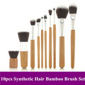 Free Shipping~ Pro New 10 PCS Cosmetic Brush set Bamboo Handle Synthetic  Makeup Brushes Kit, High Quality