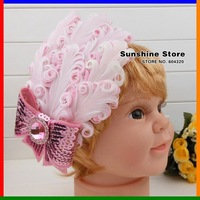 Sunshine store #2B2218  one piece baby headband WHITE pink diamond rhinestone BOW feather headband christmas headwear free CPAM