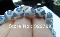 Free Shipping,10 mm Natural Blue Agate Faceted Circular Bead White Stripe Jewel  Agate Accessories DIY Loose Bead 74 pcs/lot