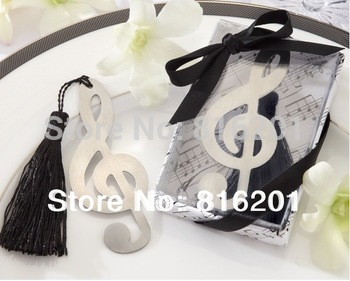 Free Shipping  Wedding Gift Party Accessory Decoration Treble Clef Brushed  Bookmark Metal Favor With Elegant Silk Tassel